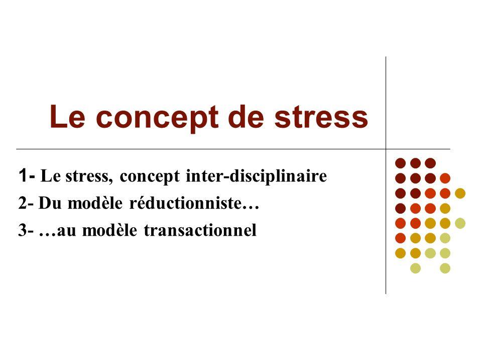 Le concept de stress 1- Le stress, concept inter-disciplinaire