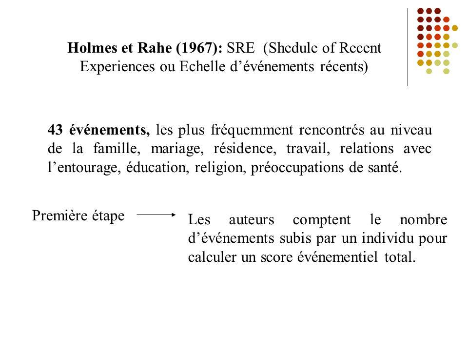 Holmes et Rahe (1967): SRE (Shedule of Recent Experiences ou Echelle d'événements récents)