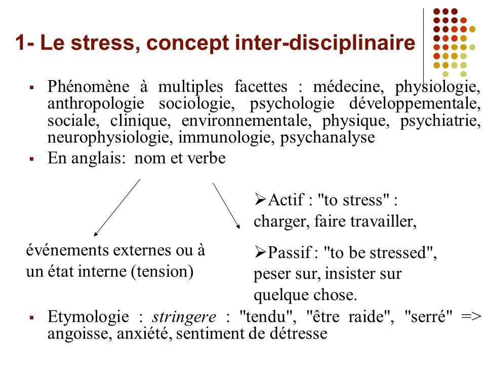 1- Le stress, concept inter-disciplinaire