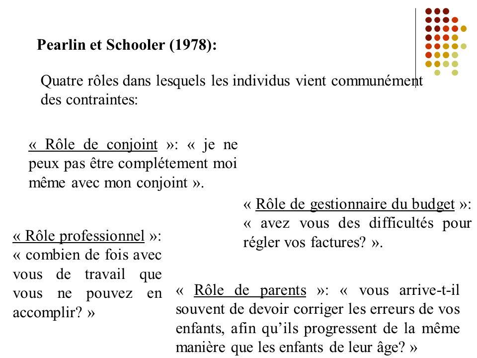 Pearlin et Schooler (1978):