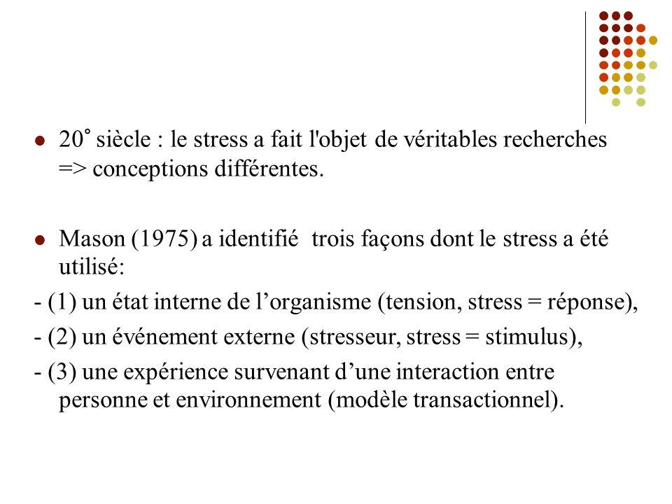 20° siècle : le stress a fait l objet de véritables recherches => conceptions différentes.