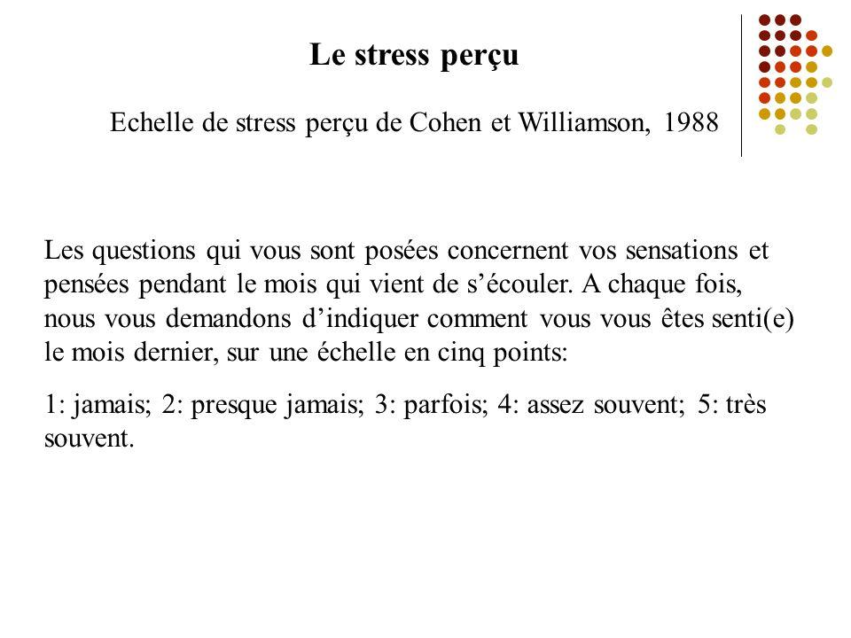 Echelle de stress perçu de Cohen et Williamson, 1988