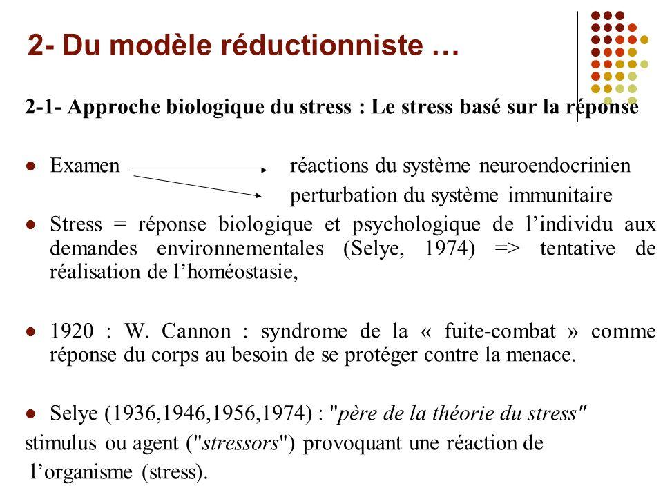 2- Du modèle réductionniste …