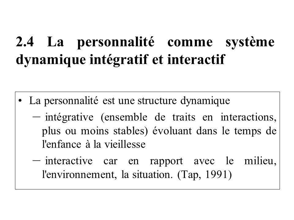 2.4 La personnalité comme système dynamique intégratif et interactif
