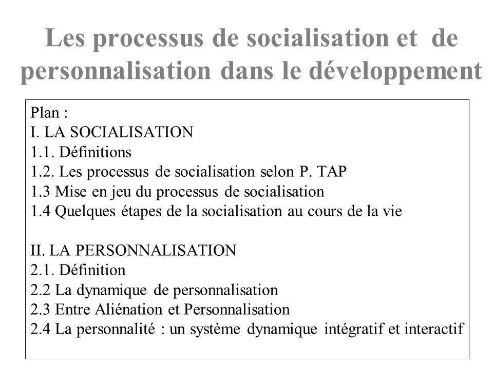 Les processus de socialisation et de personnalisation dans le développement