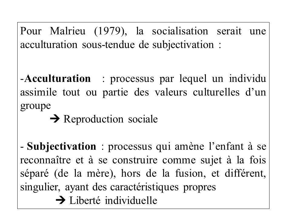 Pour Malrieu (1979), la socialisation serait une acculturation sous-tendue de subjectivation :