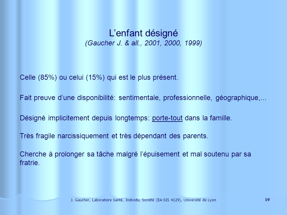 L'enfant désigné (Gaucher J. & all., 2001, 2000, 1999)