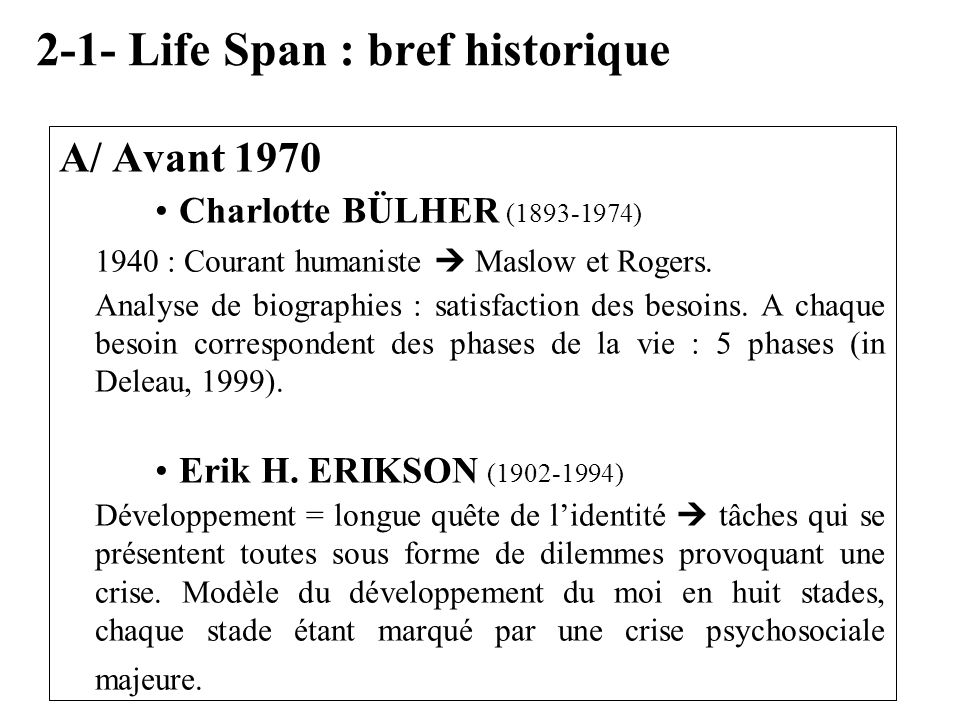 2-1- Life Span : bref historique