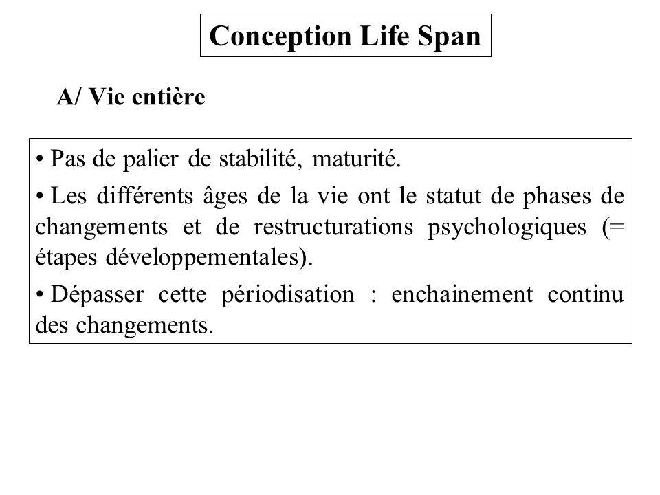 Conception Life Span A/ Vie entière