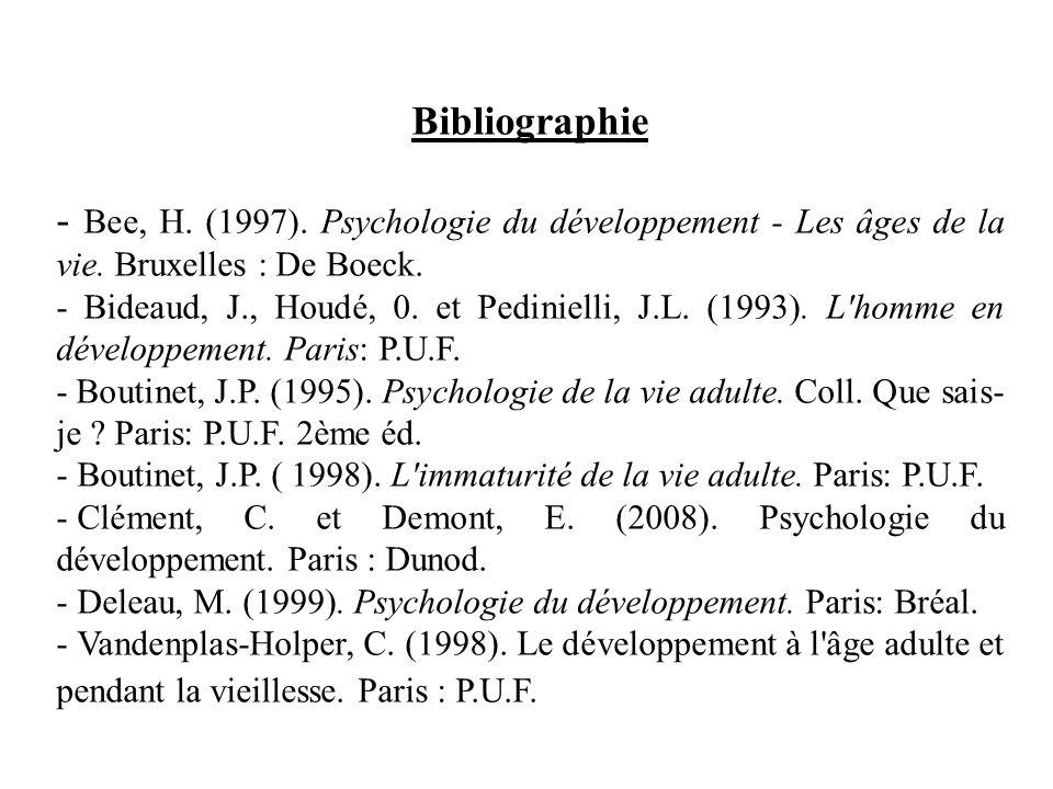 Bibliographie - Bee, H. (1997). Psychologie du développement - Les âges de la vie. Bruxelles : De Boeck.