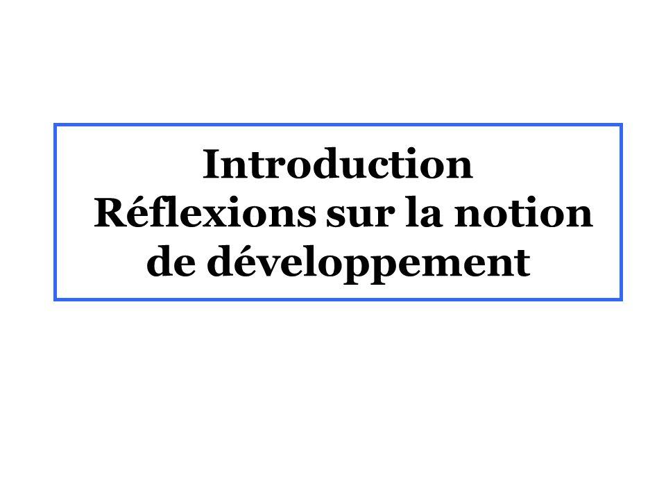 Introduction Réflexions sur la notion de développement