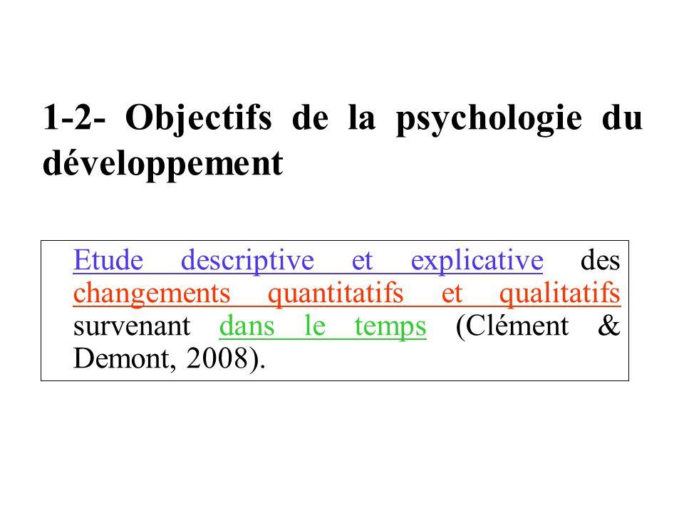 1-2- Objectifs de la psychologie du développement