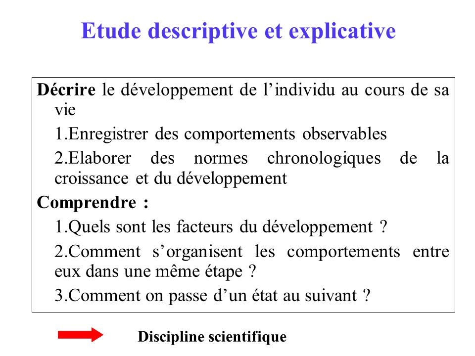 Etude descriptive et explicative