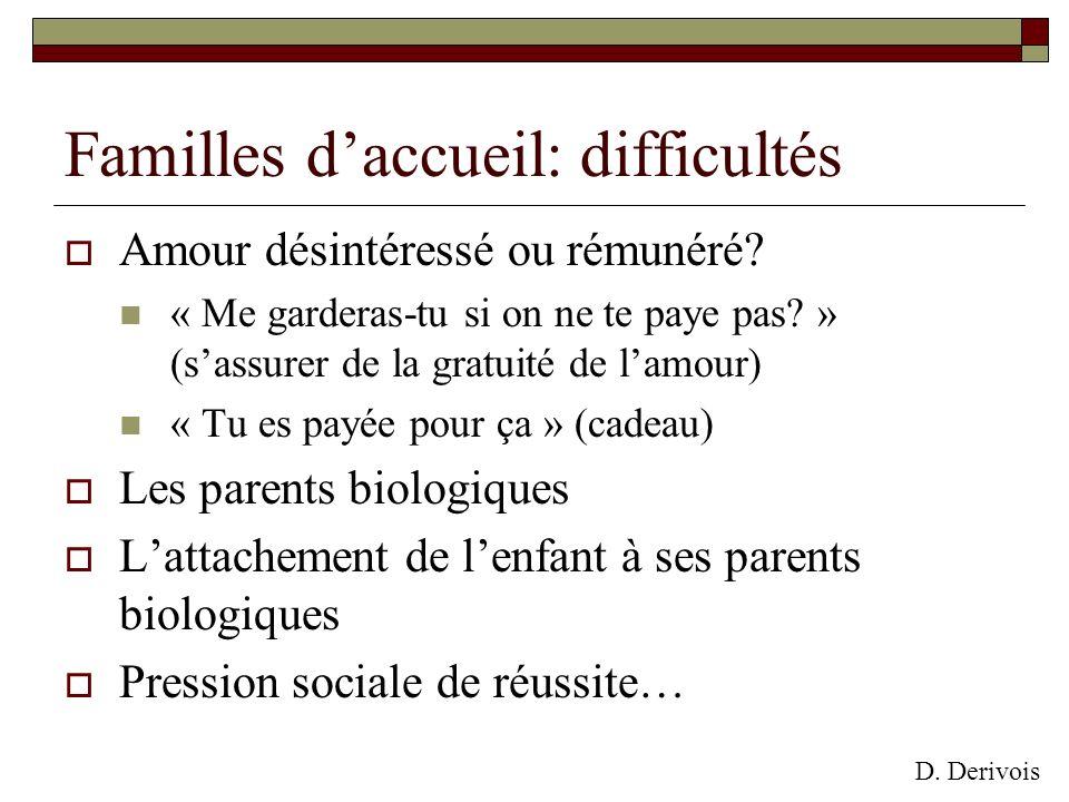 Familles d'accueil: difficultés