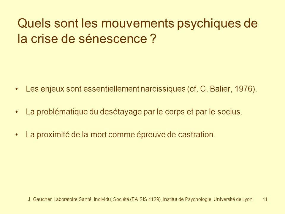 Quels sont les mouvements psychiques de la crise de sénescence