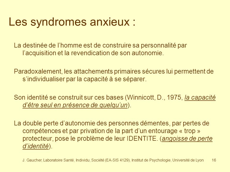 Les syndromes anxieux :