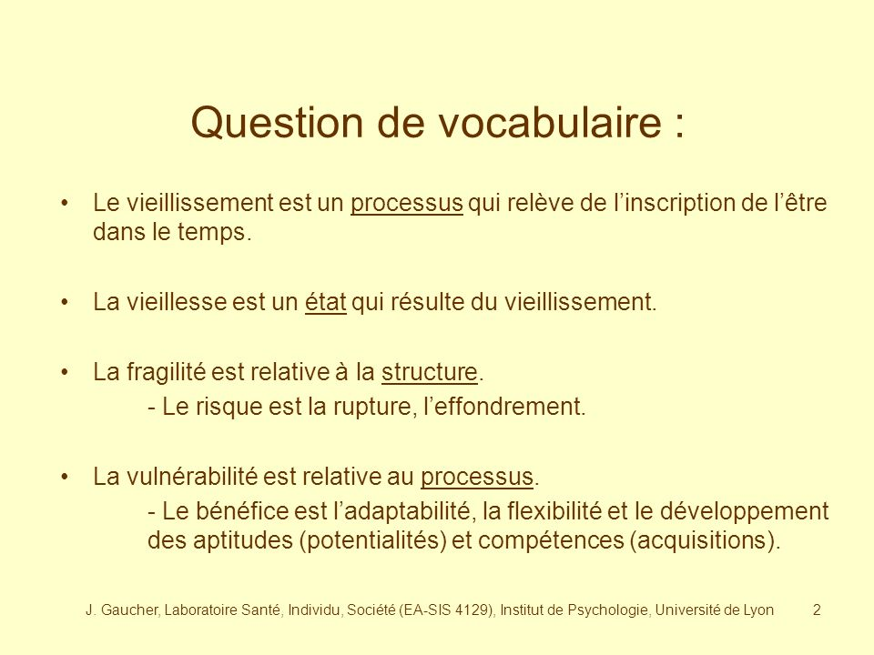Question de vocabulaire :