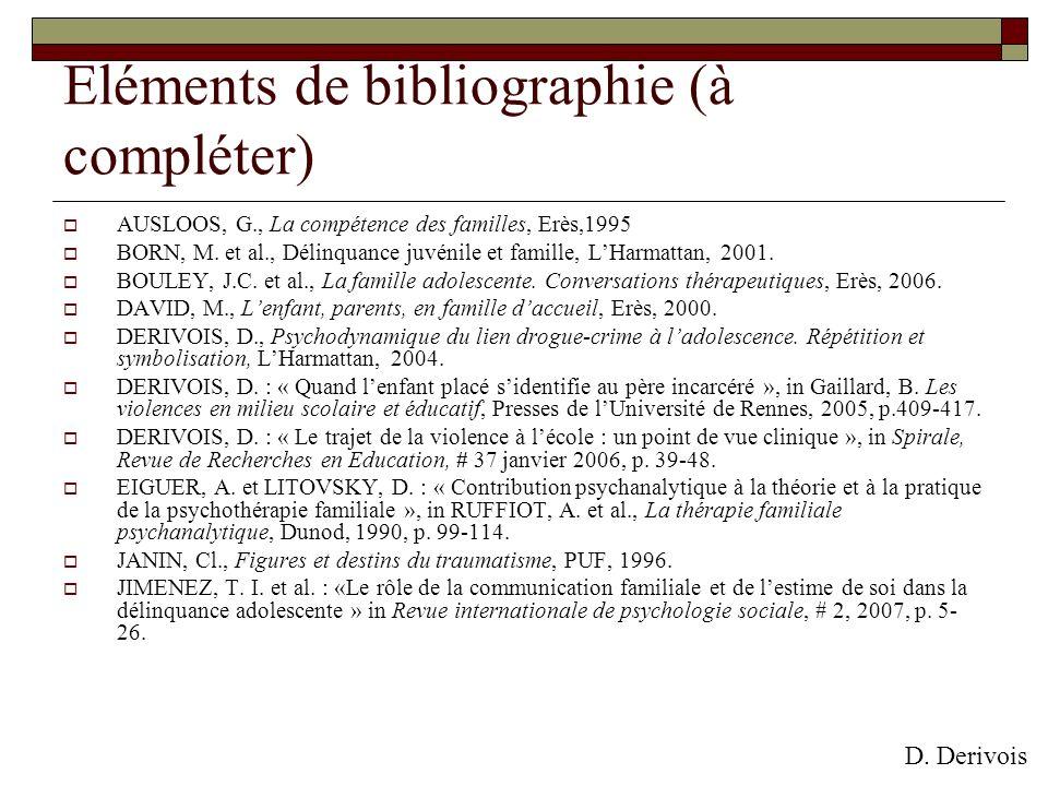 Eléments de bibliographie (à compléter)