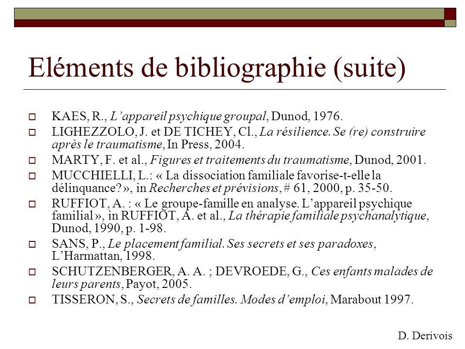 Eléments de bibliographie (suite)