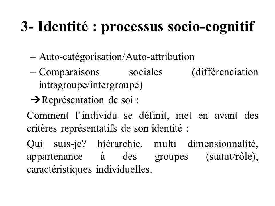 3- Identité : processus socio-cognitif