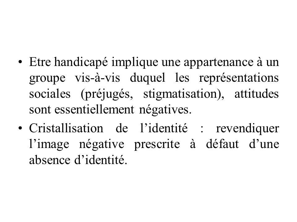 Etre handicapé implique une appartenance à un groupe vis-à-vis duquel les représentations sociales (préjugés, stigmatisation), attitudes sont essentiellement négatives.