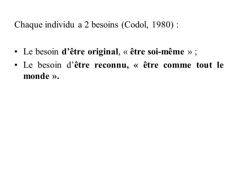 Chaque individu a 2 besoins (Codol, 1980) :