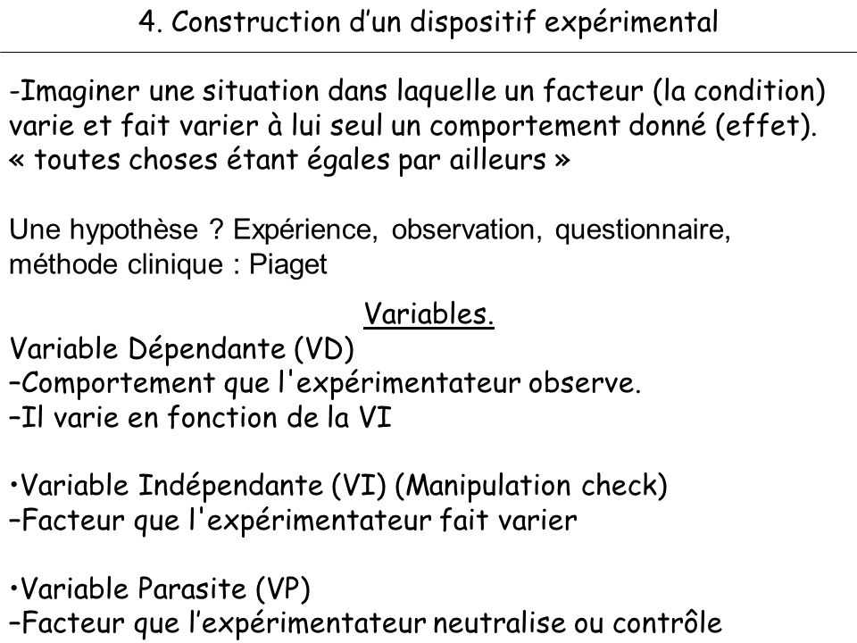 4. Construction d'un dispositif expérimental