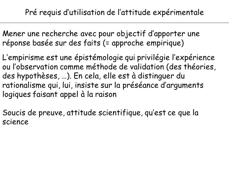 Pré requis d'utilisation de l'attitude expérimentale