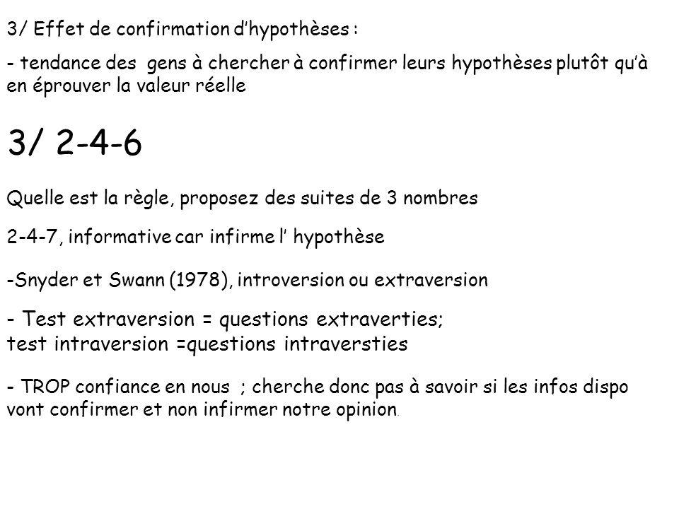 3/ Effet de confirmation d'hypothèses :