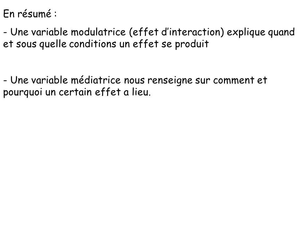 En résumé : - Une variable modulatrice (effet d'interaction) explique quand et sous quelle conditions un effet se produit.