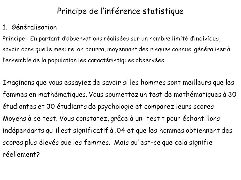 Principe de l'inférence statistique