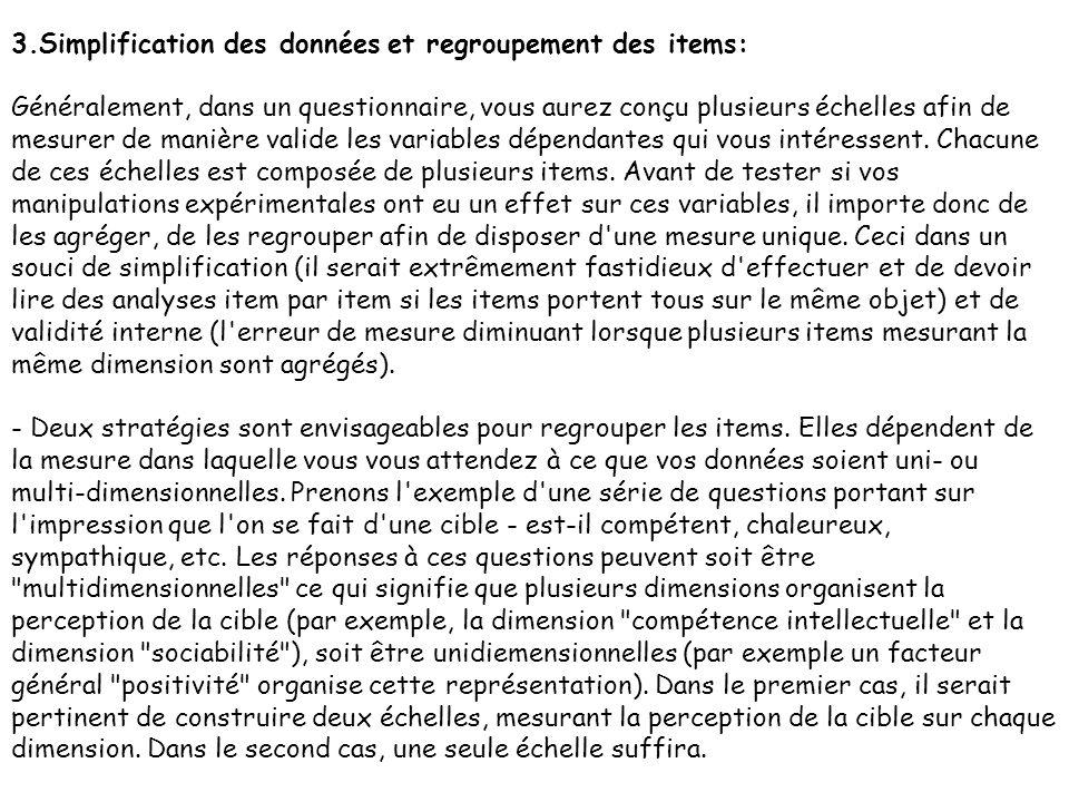 3.Simplification des données et regroupement des items: