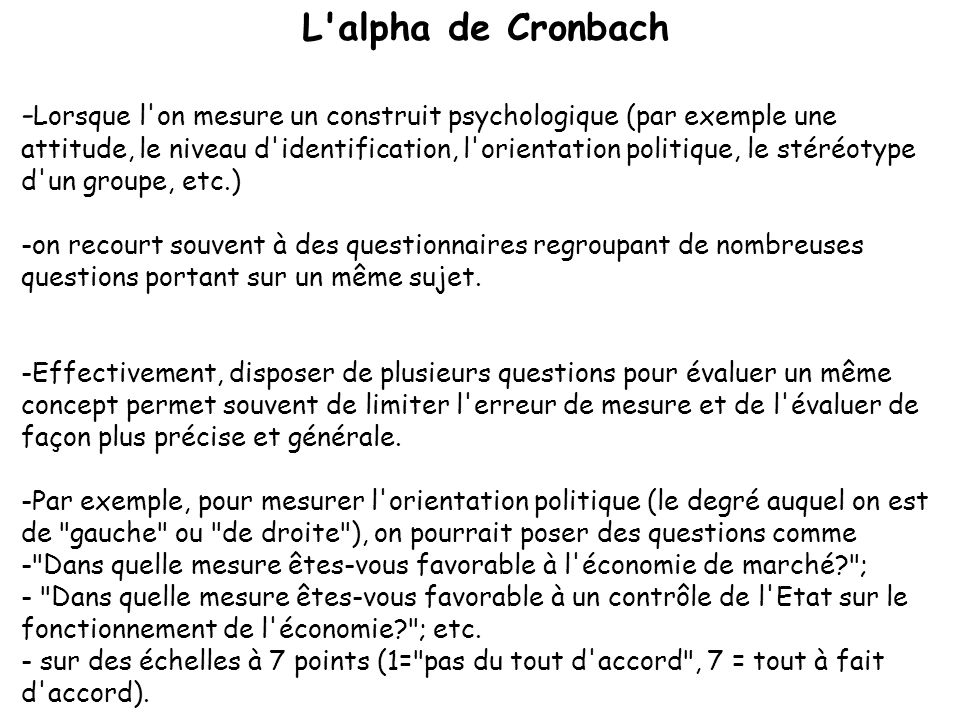 L alpha de Cronbach
