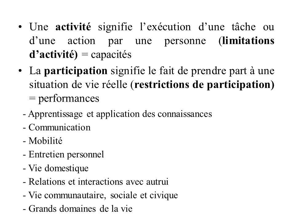 Une activité signifie l'exécution d'une tâche ou d'une action par une personne (limitations d'activité) = capacités