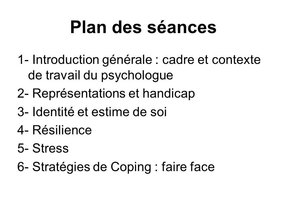 Plan des séances 1- Introduction générale : cadre et contexte de travail du psychologue. 2- Représentations et handicap.