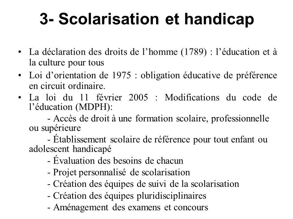 3- Scolarisation et handicap