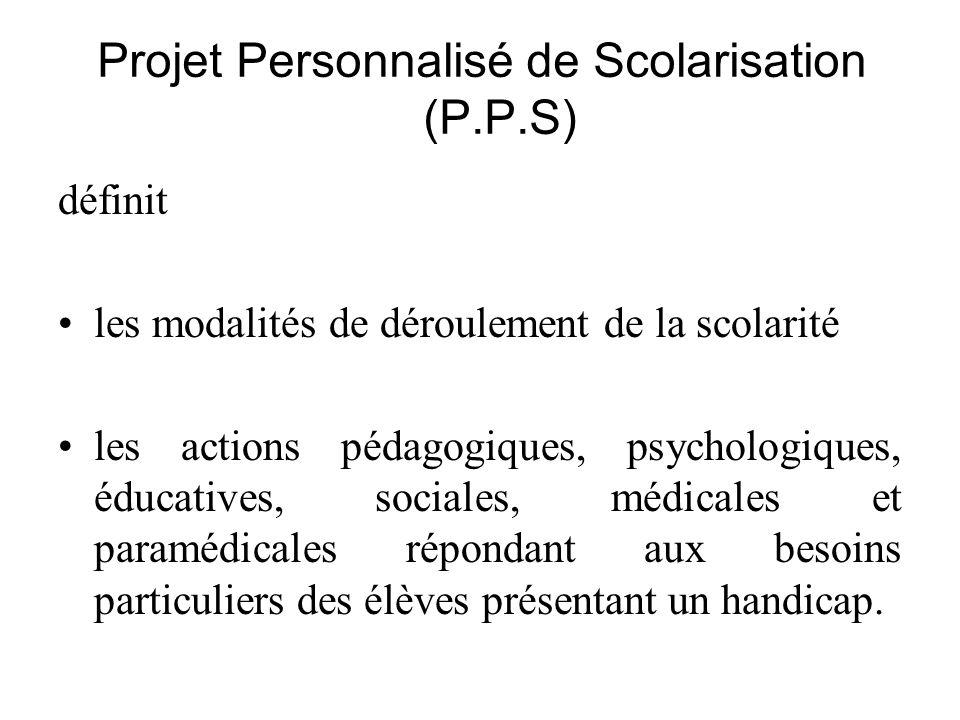Projet Personnalisé de Scolarisation (P.P.S)