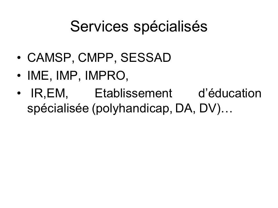 Services spécialisés CAMSP, CMPP, SESSAD IME, IMP, IMPRO,