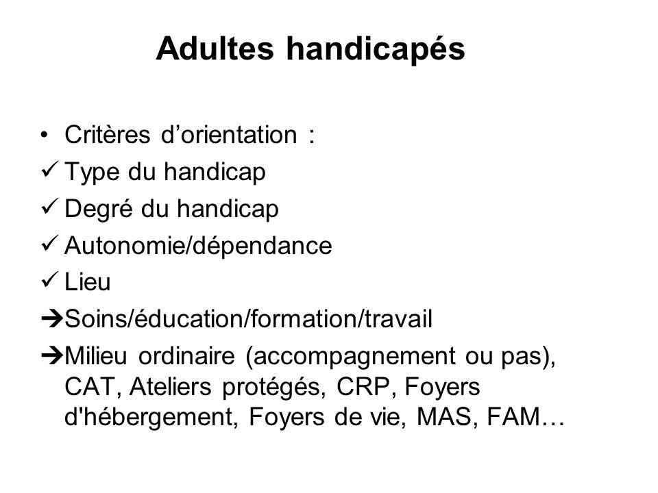 Adultes handicapés Critères d'orientation : Type du handicap