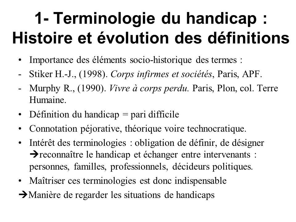 1- Terminologie du handicap : Histoire et évolution des définitions