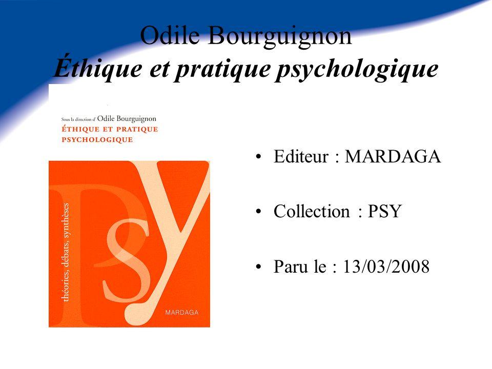 Odile Bourguignon Éthique et pratique psychologique