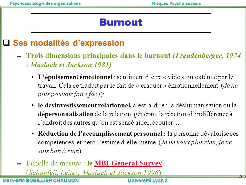 Burnout Ses modalités d'expression
