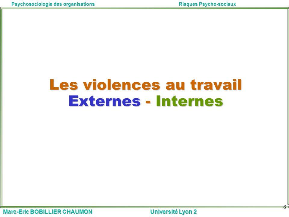 Les violences au travail Externes - Internes