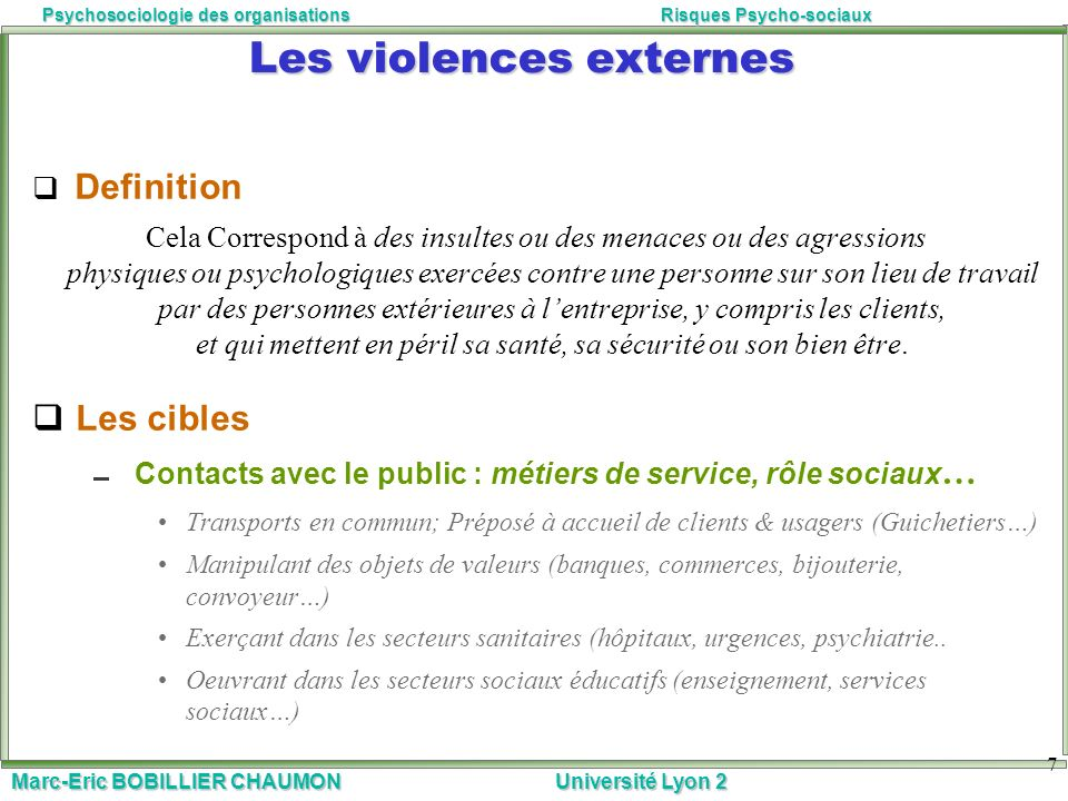 Les violences externes