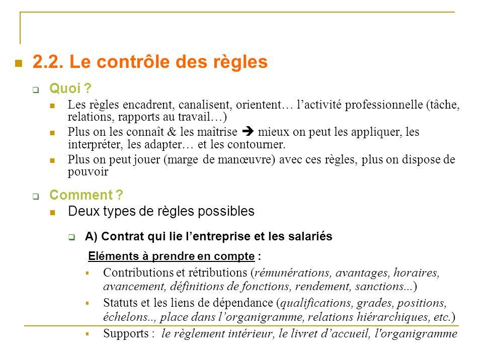 2.2. Le contrôle des règles Quoi Comment
