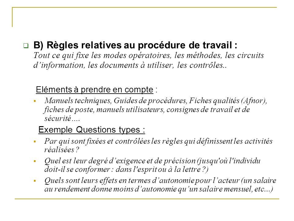 B) Règles relatives au procédure de travail : Tout ce qui fixe les modes opératoires, les méthodes, les circuits d'information, les documents à utiliser, les contrôles..