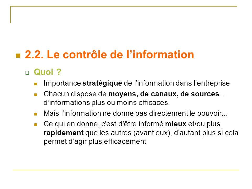 2.2. Le contrôle de l'information