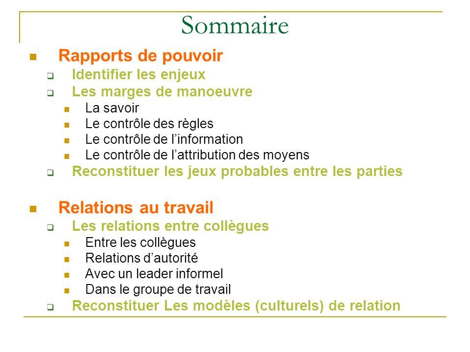 Sommaire Rapports de pouvoir Relations au travail