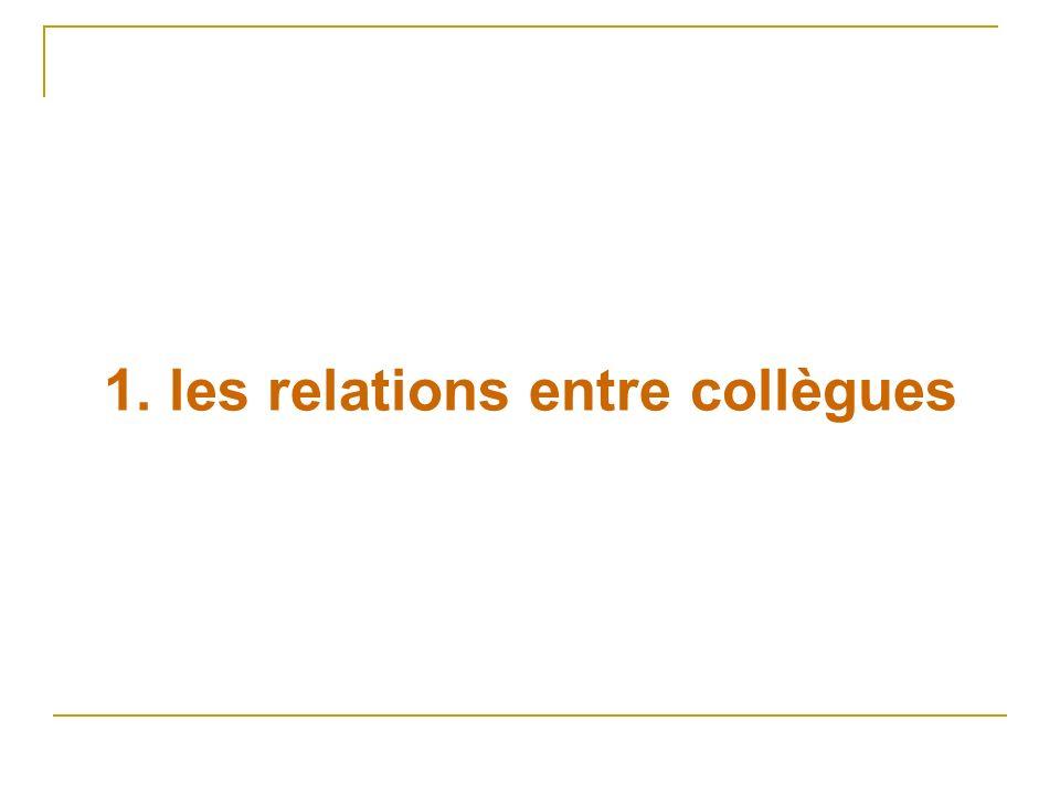 1. les relations entre collègues