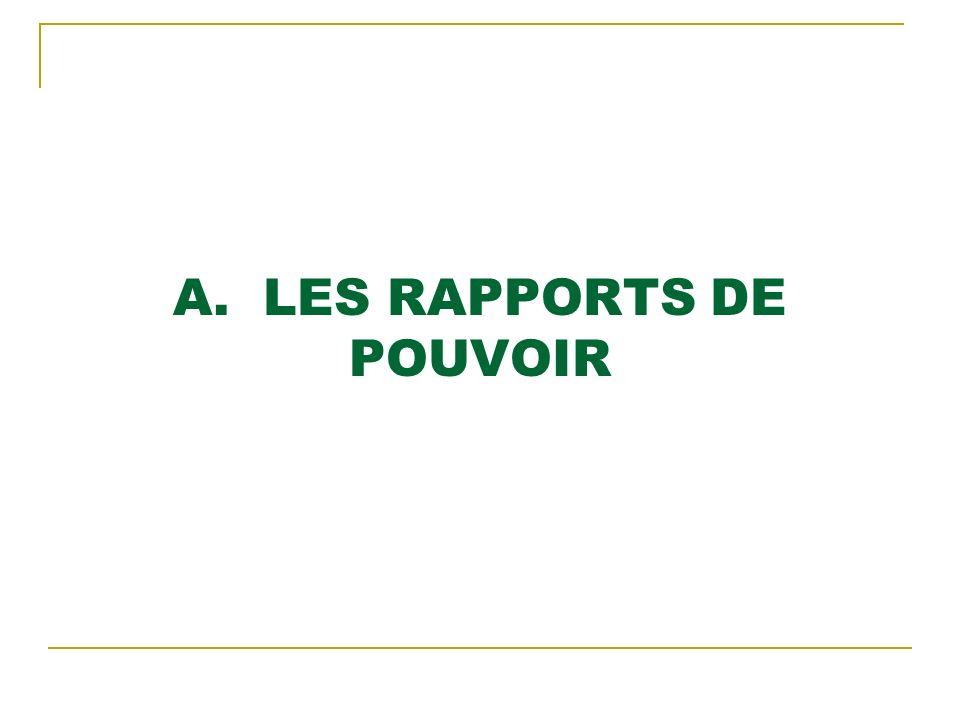 A. LES RAPPORTS DE POUVOIR